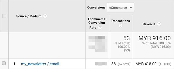 Screenshot of Google Analytics conversions