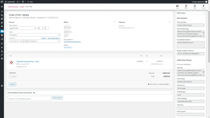 Screenshot of WooCommerce Order Page