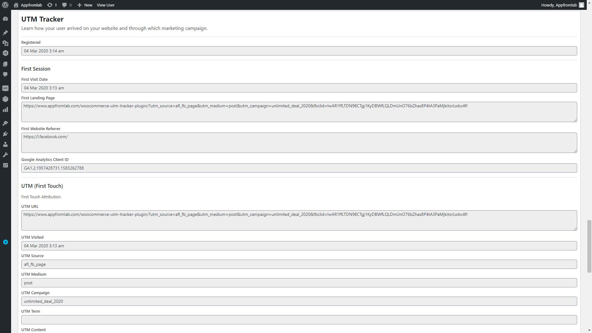 Screenshot of WordPress User Profile Page