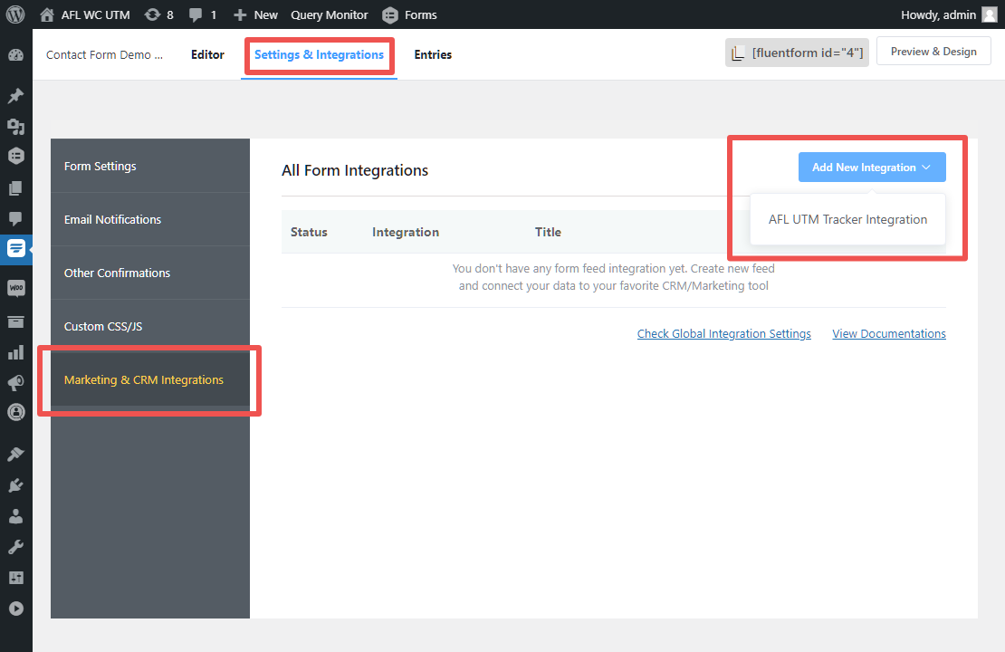 Fluent Forms Marketing and CRM Integrations