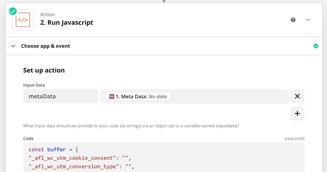 Zapier WooCommerce Javascript Code for Standard Attribution Data Format